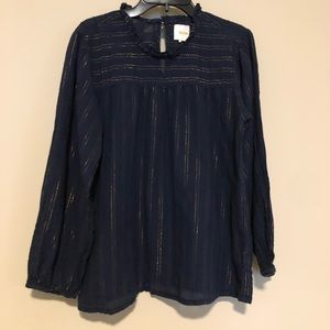 Maeve Anthropologie navy blue/gold top size S!